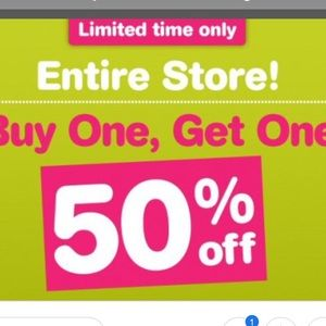 BUT ONE GET ONE 50% OFF THE ENTIRE CLOSET